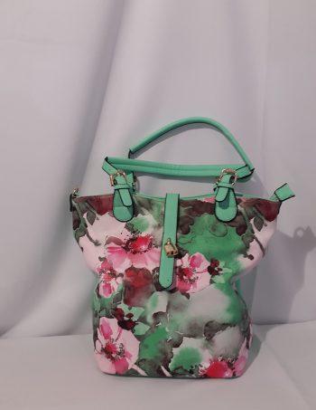 Tasche grün mit Blüten, Leder