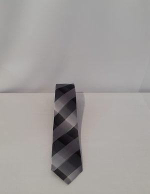Krawatte schwarz weiß silber kariert