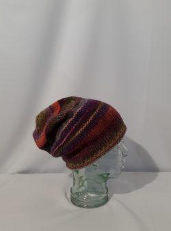 Beanie Mütze  bunt gestrickt 50 % Schurwolle und 50 % Polyacryl